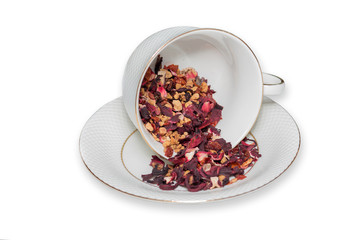 Tea Cup of fruit tea leaves on white background