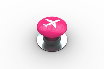 Composite image of airplane graphic on button