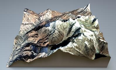 Everest spaccato sezione. Montagne Himalaya