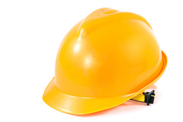 yellow safety helmet on white background