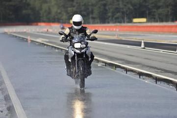 biker on road