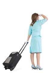 Stewardess in blue uniform with her bag
