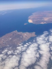 islas de Fuerteventura y Lanzarote vistas desde el aire