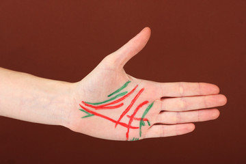 Chiromancy.Color contours on palm, on color background
