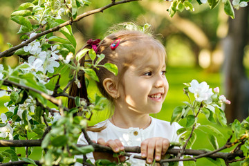 Cute little girl with a branch of blossoming apple trees