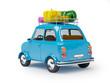 Leinwanddruck Bild - small car adventure back