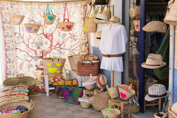 Fashion products in a mediterranean style shop in Formentera
