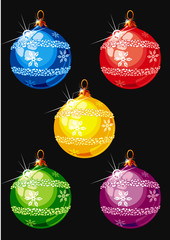 Christmas and New Year balls. Isolated on the black background