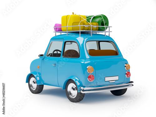 Leinwanddruck Bild small car adventure back