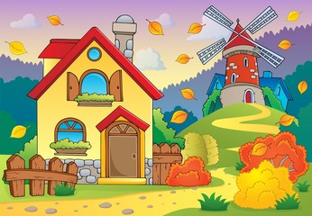 Autumn theme house and windmill
