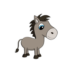Cartoon illustration of a cute baby donkey with big blue eyes