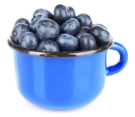 Delicious blueberries in cup isolated on white