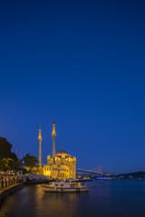 Ortakoy Mosque at night in Istanbul, Turkey