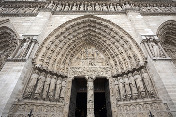 Detail of the Notre Dame cathedral in Paris, France