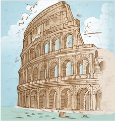 colosseum color hand draw