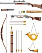 Hunting weapons and objects in flat style - 68208820