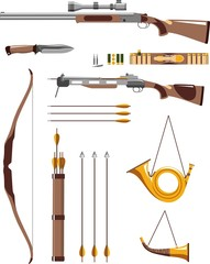 Hunting weapons and objects in flat style