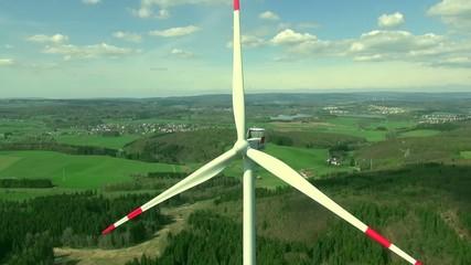 Windmill, Wind turbine: drone flight, beautiful landscape