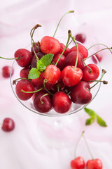 Fresh cherry in a glass