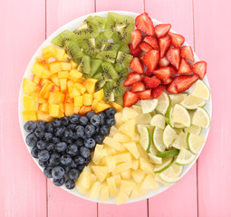 Sliced fruits on plate on wooden table