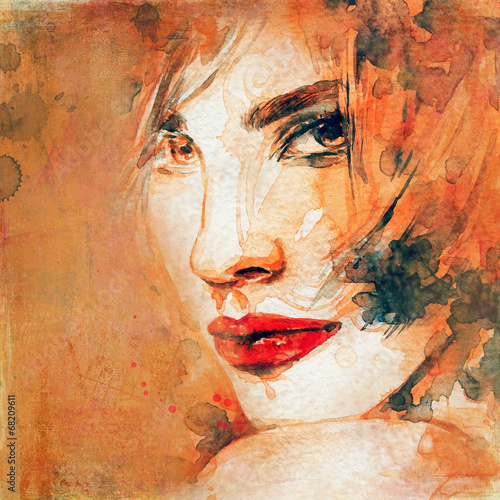 woman portrait  .abstract  watercolor .fashion background - 68209611