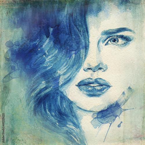 Deurstickers Aquarel Gezicht woman portrait .abstract watercolor .fashion background