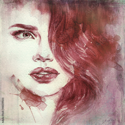 Fotobehang Aquarel Gezicht woman portrait .abstract watercolor .fashion background