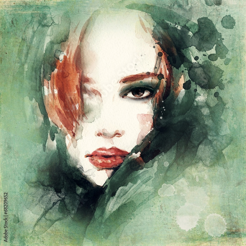 woman portrait  .abstract  watercolor .fashion background - 68209652
