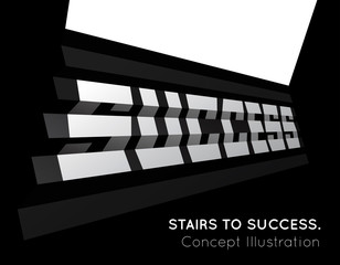 Te word success on the stairs.