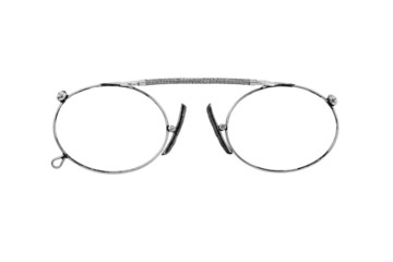 old nickelized eyeglasses on a white background