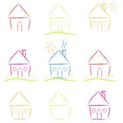 Set Häuserskizzen