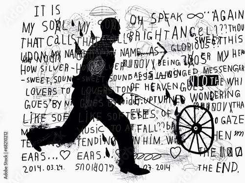 Мужчина катит колесо © moypapaboris