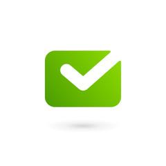 Envelope tick logo design template. Colorful e-mail symbol sign.