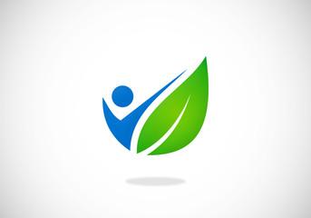 people leaf botany leaf vector logo