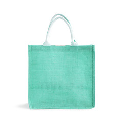 Hessian or jute reusable turquoise shopping bag with loop handle