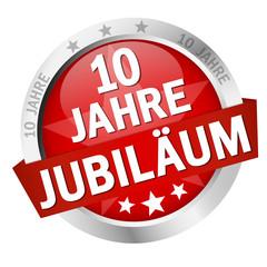 """Button mit Banner """" 10 JAHRE JUBILÄUM """""""