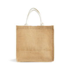 Hessian or jute reusable brown shopping bag with loop handles
