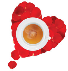 A cup of hot tea in the heart of rose petals. Vector illustratio