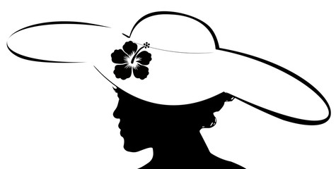 silhouette de jeune femme à la capeline fleurie