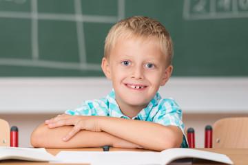 lächelnder grundschüler in der klasse