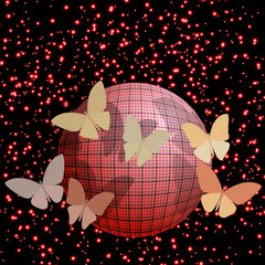 group of butterflies near the ball on a brilliant background