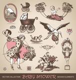 baby shower antique design elements set (vector)