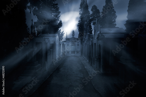 Cemetery in a foggy full moon night - 68212895