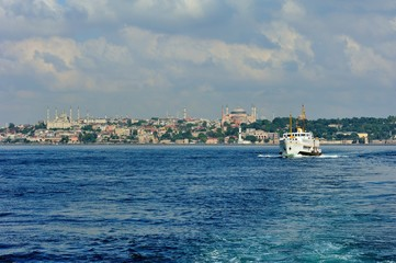 Blue Mosque and Hagia Sophia in cloudy day