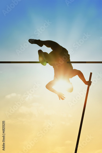 Fototapeta Pole vault back light