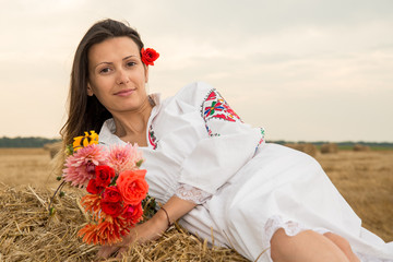 Young woman with national costume from Bulgaria