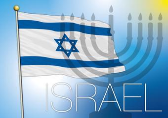 israel flag and menorah