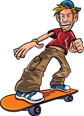 Cartoon skater on his skateboard