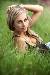 Beautiful woman on a meadow
