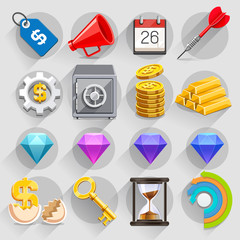 Business flat icons color set.